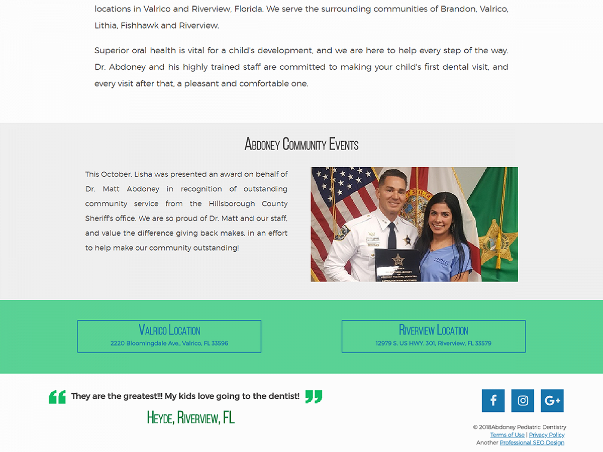 Abdoney Pediatric Dentistry Footer Website Design