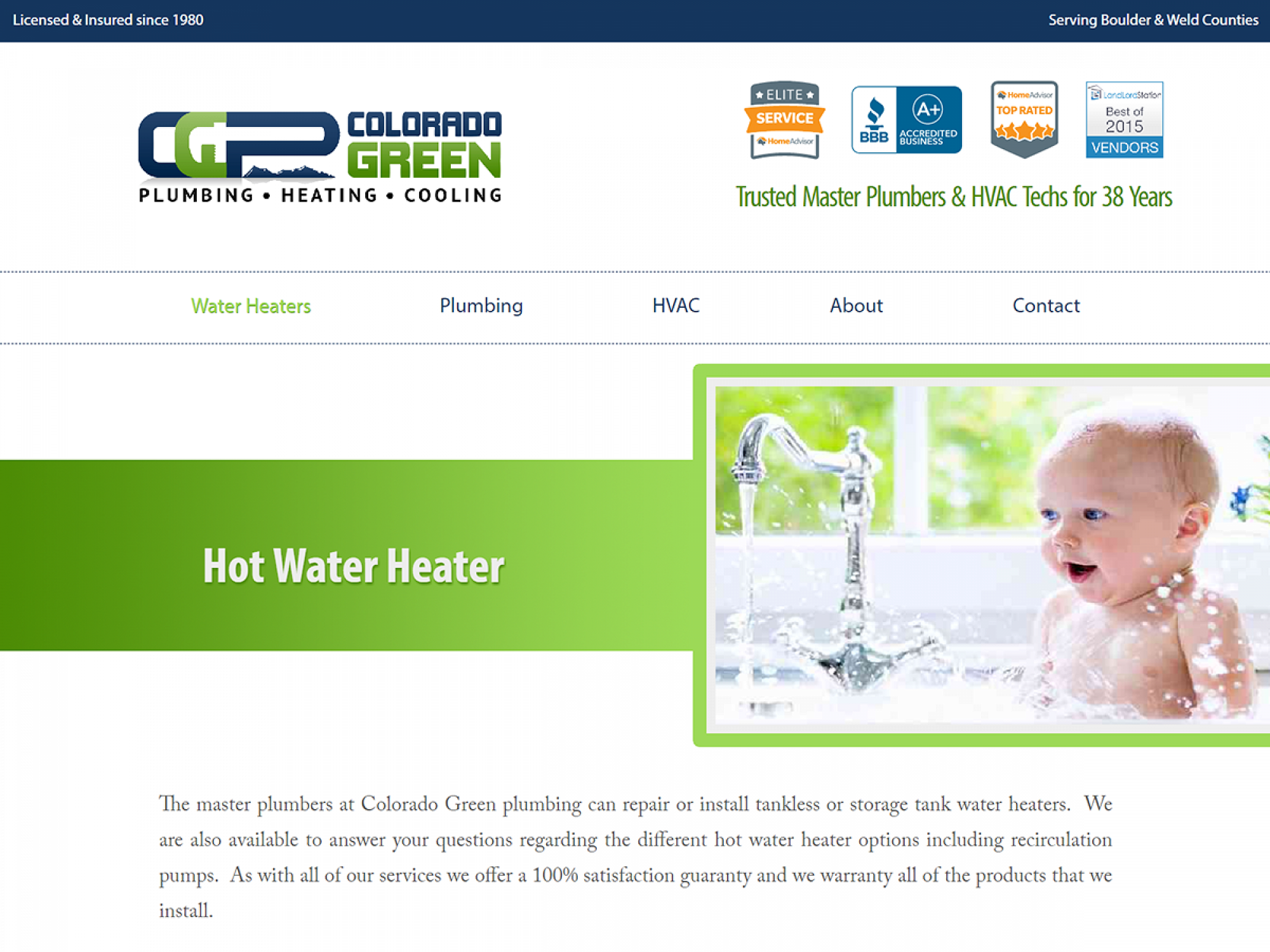 Colorado Green Plumbing Website Services Page