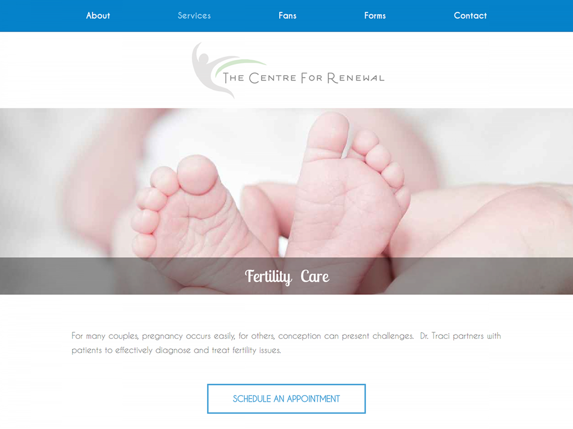 Centre For Renewal Service Page - Web Design