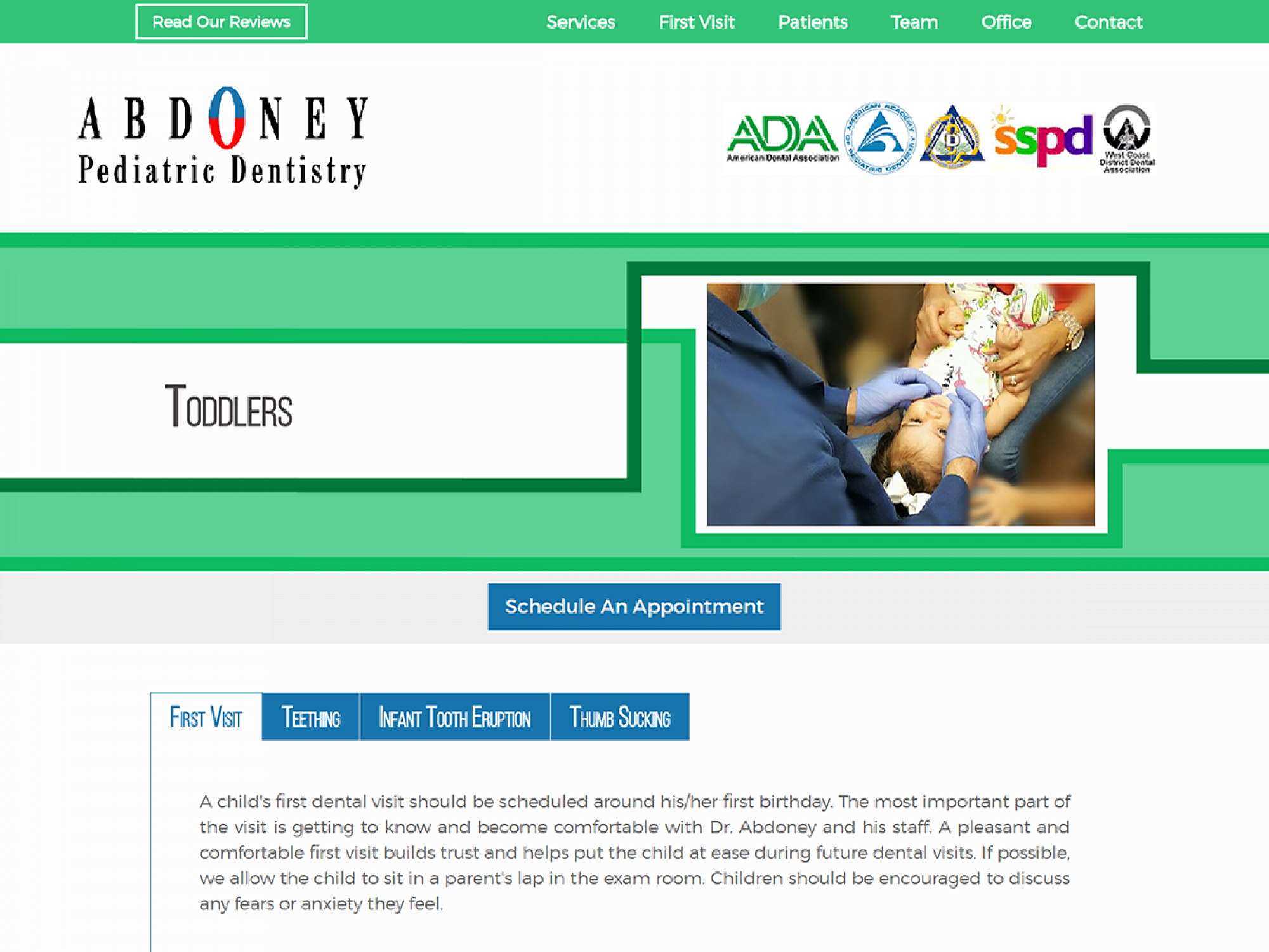 Abdoney Pediatric Dentistry Toddler Website Page Design