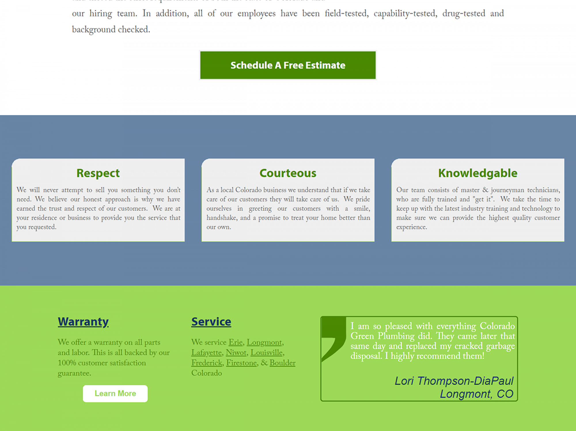 Colorado Green Plumbing Website Screenshot Elements