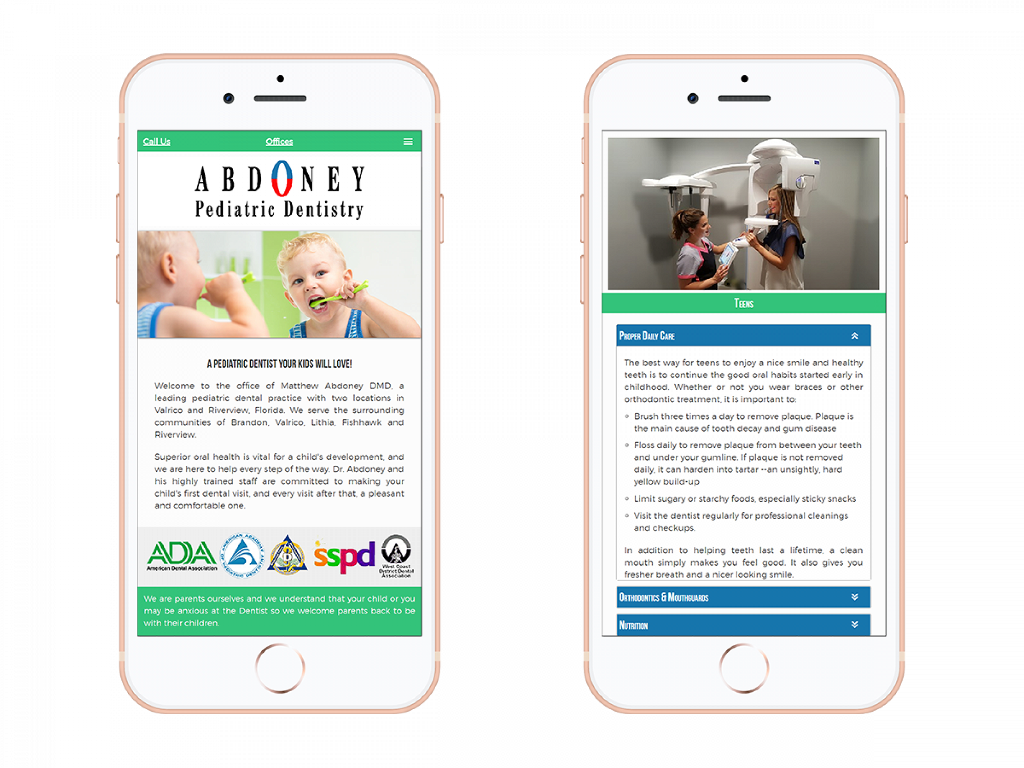 Abdoney Pediatric Dentistry Mobile Website Design